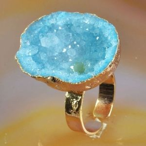 3/$20...Blue Agate Druzy Gold Cave Ring